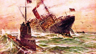 1915 --- Illustration of Submarine Warfare in World War I by Willy Stower --- Image by © Bettmann/CORBIS